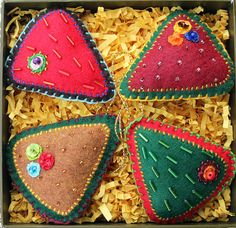 Handsown Set of 4 Christmas Ornaments by vusova on Etsy, $25.00