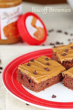 Chocolate Chip Biscoff Brownies with Biscoff Frosting