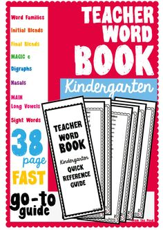 Teacher Word Book - Quick Reference Guide $