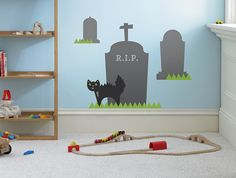 Halloween Graveyard Wall Decal, Wall Sticker, and Wall Decor.