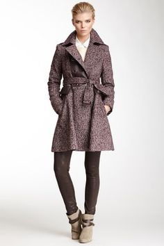 Double Breasted Military Tweed Coat with Faux Leather Trim