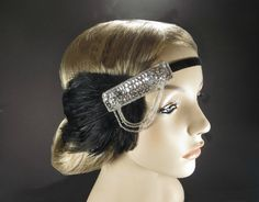 1920s Flapper Great Gatsby Silver Headpiece by FlowerCouture, #headband #flapper #wedding #feather #beaded #costume