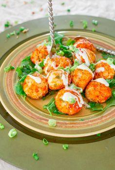 Crockpot Buffalo Chicken Meatballs with Blue Cheese Dressing | Jo Cooks