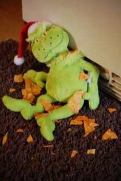 Naughty Grinch.  Each morning around During Christmas the children wake up to find what naughty thing the Grinch did during the night.