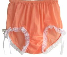 CLICK IMAGE TWICE FOR PRICING AND INFO :) #women #panties #lingerie #briefpanties #intimates #undergarment see more granny panties at http://zpanties.com/category/panties-categories/granny-panties/ - Vintage Style Orange Granny Briefs Panties Sheer Nylon Lacy Knickers Underwear XXL Hip 38″ – 42″ « Z Panties