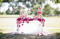 One Sweet Girl Peony dessert table and Wedding Cake