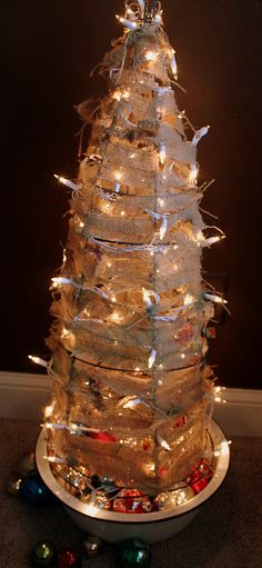 Tomato Cage with Burlap Christmas Tree