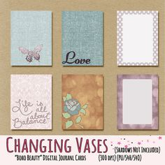 Free Boho Beauty Digital Journal Cards by Changing Vases