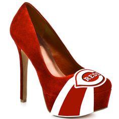Cincinnati Reds High Heel Suede Pumps