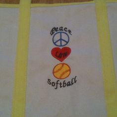 Peace love and softball canvas tote