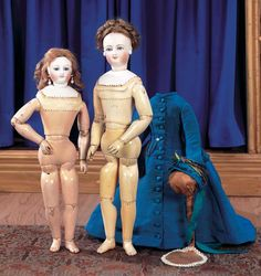 "View Catalog Item - Theriault's Antique Doll Auctions - two french fashion dolls, 16"" and 14"""