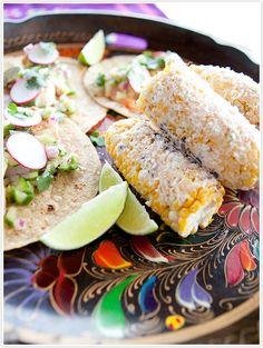 Shrimp Tacos with Avocado-Cucumber Salsa & Mexican Street Corn Recipes... 3 really good recipes !!!