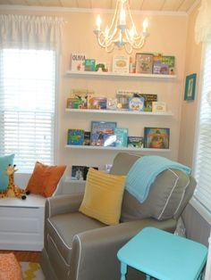 Tip: When creating a cozy nursing or reading nook, be sure to keep a side table close and books within reach! #nursery