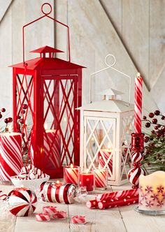 Metal Lanterns with Peppermint Creme Candles #Christmas