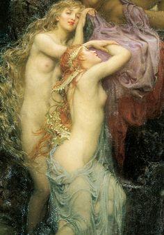 1904 Herbert James Draper (English Classicist; 1863-1920) ~ Sea Melodies [detail]