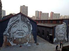 Teaser shots of Vhils' street work in Shanghai