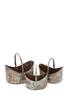 Copper Oval Planter Baskets - Set of 3 on HauteLook