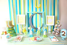 Another shot of this April showers dessert table #rain #desserttable #birthday
