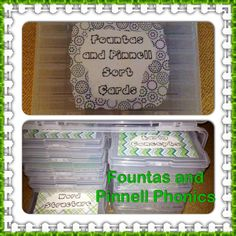 I took a photo storage box and created a storage box for my Fountas and Pinnell phonics sorts. The photo box was purchased at Michaels using a 50% off coupon.