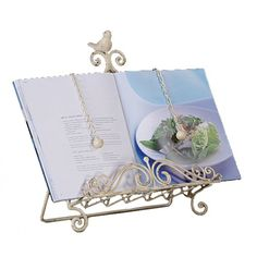 Metal Cookbook Holder With Bird