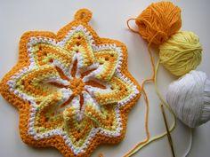 crochet flowers, hook, crochet potholders, sunburst pothold, pot holder, sew ritzytitzi, star, kitchen, beauty