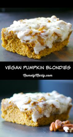 Vegan Pumpkin Blondies with White Chocolate Cream Frosting. Another easy and delicious vegan recipe just in time for the holidays!