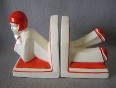 Art Deco German Flapper Lady Bookends