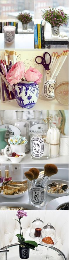 Do I really need to pin this? Probably not, but the images are pretty :) - DIY: 5 Ways to Reuse Your Diptyque Candle Jars