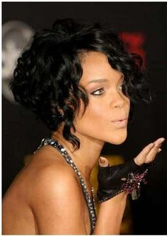 Rihanna's Short Cropped Asymmetrical Bob Hairstyle