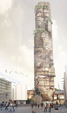 Barcelona Rock, The Worlds First Hotel Designed to look like a mountain.. rock_climber_hotel
