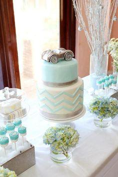 Chevron & Race Cars soft color pallet 1st birthday party via Kara's Party Ideas | KarasPartyIdeas.com
