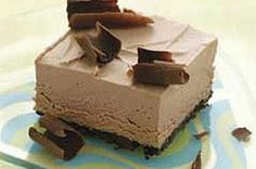 Frozen Chocolate Mousse Squares recipe - Chocolate on chocolate, topped with chocolate. Sound stupendous? It is, from the OREO Cookie crust to the whipped center to the chocolate curls on top.    Enter the COOL WHIP Pin & Win Sweepstakes! Get started by pinning your favorite COOL WHIP recipe and you could win the $500 Grand Prize!  Visit www.kraftrecipes.com/CoolWhipSweepstakes for complete details. #DollopDays #PinandWin