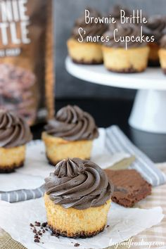 These graham cracker cupcake have a Brownie Brittle™ crust and chocolate marshmallow frosting