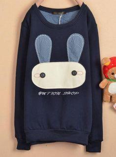Navy Blue Rabbit Cartoon Fleece Sweatshirt$39.00