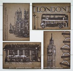 Great effect with rubber stamps, brown ink on kraft and a white pencil