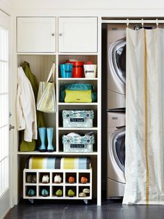 Suzie: BHG - Mud room with stacked front load washer & dryer, white rolling shoe rack, plastic ...