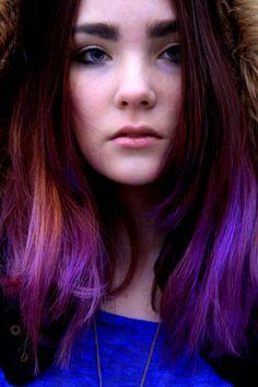 Purple hair dip dye
