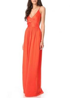 Vogue Ankle Length Open Back Orange Polyester Dress #dress #maxi #prom #party #sexy #fashionista #fashion