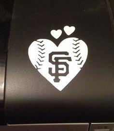 San Francisco Giants Baseball Heart vinyl car decal