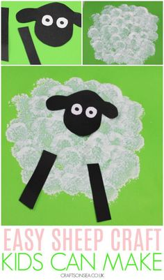 This easy sheep craft is perfect for spring or Easter crafts and great for toddlers, preschoolers and EYFS #springcrafts #kidscrafts #eastercrafts