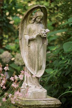 Guardian Angel. garden statuari, garden statuary, frames, cemetery angels, garden angels, children, angel statues, guardian angels, grey gardens