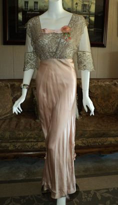 Rare Edwardian Gown Dress Silver Metallic Lace with Pink Ribbonwork Silk Wearable 1910s Wedding