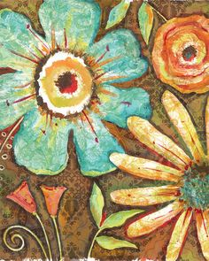 Whimsical Flower print...great for any room!...www.lorisiebertstudio.etsy.com