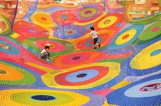 Crochet for Kids!   crochet today playground, play spaces, textile artists, national parks, the artist, museum, rainbow, yarn, kid