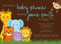 Jungle theme baby shower invite