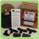 A Gator-100 Kit contains 100' roll of drip irrigation tubing, 3 perma-loc tees, 1 perma-loc elbow, 1 regulator/screen assembly and an installation instruction sheet.
