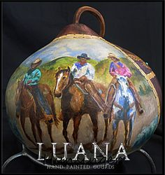 Happy Trails Hand Painted Gourd by Luana by LuanasPaintedGourds, $475.00