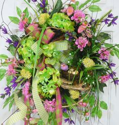 X Large Spring & Summer Outdoor Wreath with double bow and green hydrangeas by LadybugWreaths, $229.97