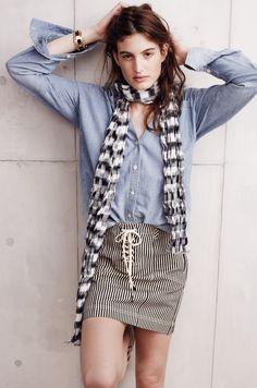 Madewell ticking stripe mini worn with button-down shirt + ikat scarf.