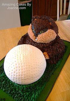 """Caddyshack"" Movie Gopher & Golf Ball Birthday Cake"